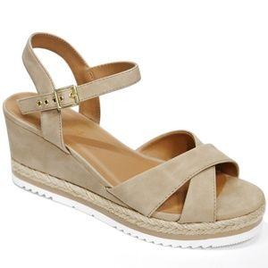 New Taupe Platform Espadrille Wedge Sandals